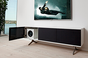 Model 231 with 3 black fabric doors on unnu base. Subwoofer hidden behind the fabric door
